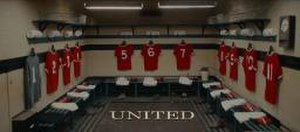 United (2011 film) - Title screen, featuring the Manchester United home changing rooms.