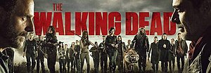 The Walking Dead (season 8) - The primary characters of the eighth season include (from left to right): Rick, Carol, Morgan, Daryl, Carl, Enid, Rosita, Tara, Michonne, Gabriel, Aaron, Maggie, Jesus, Gregory, Shiva, Ezekiel, Jadis, Eugene, Simon, Dwight, and Negan