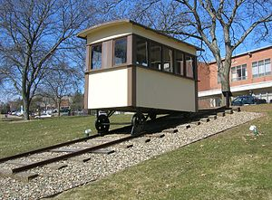 Western State Normal Railroad - The replica car, which sits in front of the Bernhard Center