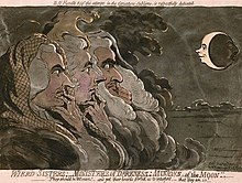 Three wigged  heads, seen in profile, with crooked figures to their lips. They are looking at the smiling profile of the man in the moon.