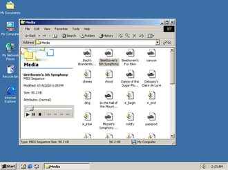 File Explorer - The integrated media player in Windows Explorer playing a MIDI sequence.
