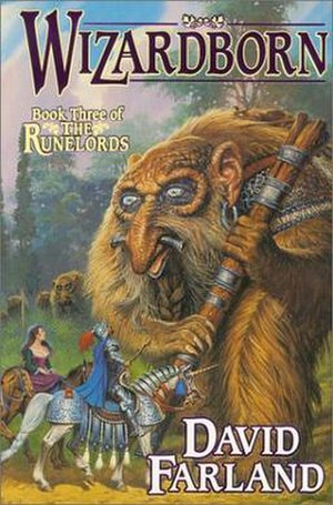 The Runelords - A Frowth Giant pledges fealty to the Earth King, Gaborn Val Orden, on the cover of Wizardborn.