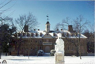 Wren Building - The front of the Wren Building behind a snow-covered Lord Botetourt statue