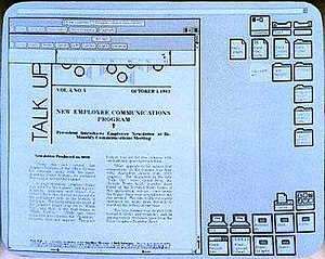 Desktop metaphor - Xerox Star showing an application and icons on the desktop.