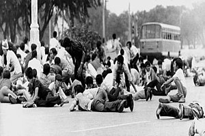 1973 Thai popular uprising - The army opened fire on the students, forcing them to duck for cover.