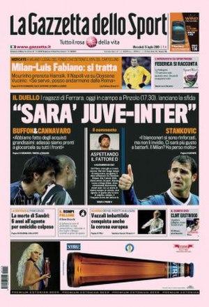 La Gazzetta dello Sport - Image: 20090715 gasport frontpage