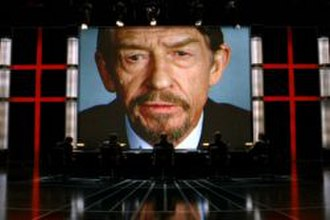 Adam Susan - High Chancellor Adam Sutler (played by John Hurt) addressing his subordinates in a scene from V for Vendetta.