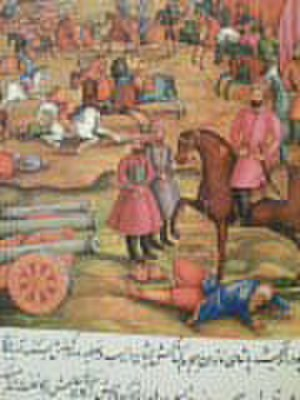 Mirza Mehdi Khan Astarabadi - Picture showing Mirza Mehdi Khan in pink clothes and Nader Shah Afshar on horseback (zoomed out).