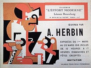 Auguste Herbin - Auguste Herbin, Galerie de L'Effort Moderne, March 1918