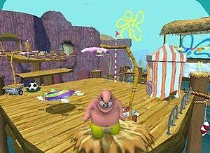 SpongeBob SquarePants: Battle for Bikini Bottom - Patrick in Goo Lagoon. An enemy G-Love robot can be seen in the background.