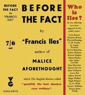 "<i>Before the Fact</i> novel by ""Francis Iles"" (Anthony Berkeley Cox)"