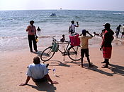 Bike on beach in Goa, India