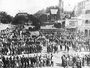 1912 Brisbane general strike - Mounted police and special constables in Market Square during the general strike