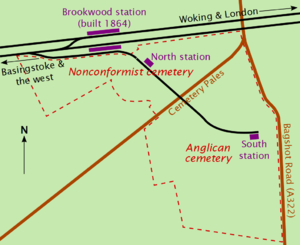 "Irregularly shaped plot of land, with a railway line and station as the top boundary. A road marked ""Cemetery Pales"" bisects the plot of land into sections marked ""Nonconformist"" and ""Anglican"". A branch from the railway line runs through these two sections, with a station roughly in the centre of each."