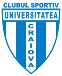 The striped crest was used on the home shirt between 2013 and 2015, and on the away shirt until 2017. CS Universitatea Craiova 2013.png