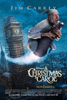 a christmas carol a man in a night gown and hat flying through the sky in the - Christmas Carol 2009