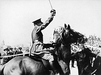 New Guard - Captain de Groot declares the Sydney Harbour Bridge open in March 1932.