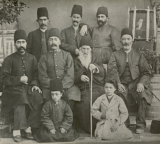 "Donboli - The Donboli family, 1870. Standing from right to left: Abbas Qoli Khan Mir Panj, Asgar Khan Beglerbegi, Kalb Ali Khan. Sitting from right to left: Mirza Ali Qoli Khan ""Eftekhar ol-Molk"", Hajj Qolam Ali Khan, Mohammad Esmail Khan (known as Qa'leh Beyg Khan), Mohammad Zaman Khan. Little boys sitting from right to left: Doctor Ali Naghi Eftekhar, Amanollah Khan (Zia' os-Soltan)."