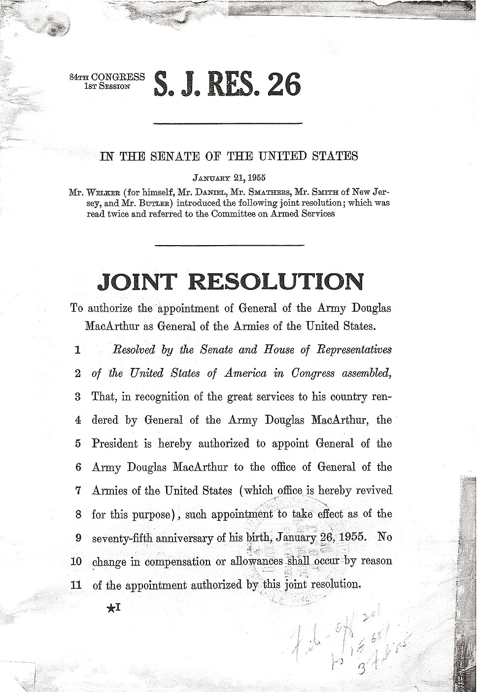 Douglas MacArthur promotion order to General of the Armies