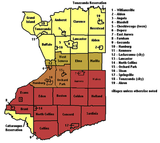 Southtowns - Erie County's municipalities, with the Southtowns shaded; the darker the color the more commonly it is included as a Southtown.