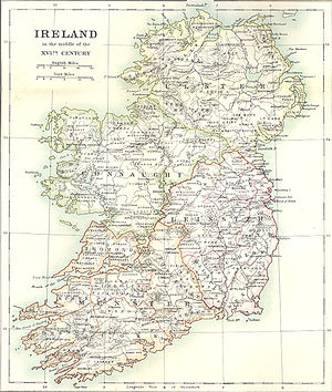 Caesar Litton Falkiner - Map of 16th century Ireland from Falkiner, Illustrations of Irish history and topography (London, 1904).