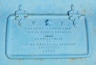 Fenton, Murray and Jackson - VR name plate of 1843 showing Fenton, Murray and Jackson at Victoria Lock, Meelick on the River Shannon
