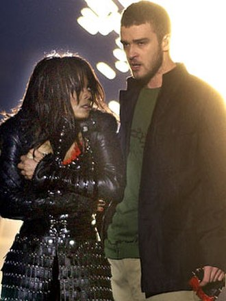 Super Bowl XXXVIII halftime show controversy - Justin Timberlake and Janet Jackson immediately after Timberlake tore off part of Jackson's clothes at the end of their halftime performance during Super Bowl XXXVIII.