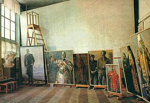 Pavel Korin - Photo of Korin's studio showing the canvas for the Farewell to Rus drawing, 1960s