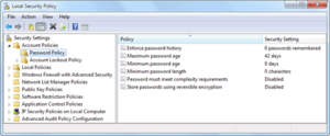 Group Policy - Local Security Policy editor in Windows 7