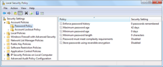 Group Policy - Local Security Policy editor in Windows7