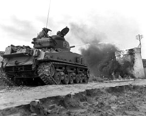 Flame tank - The M4A3R3 variant of the Sherman tank on exercise in Korea.