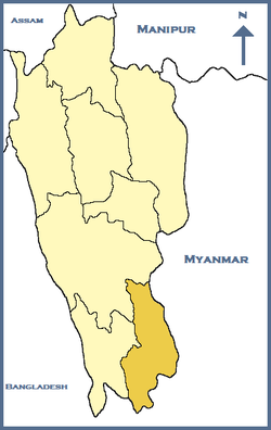 Location of Saiha district in Mizoram