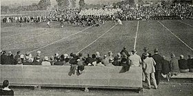 A football game at Byrd Stadium on Homecoming, October 29, 1926.