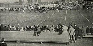 Old Byrd Stadium - A football game at Byrd Stadium on Homecoming, October 29, 1926.