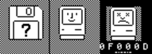 Old World ROM - Showing all three icons of the OldWorld ROM (from left to right: Missing OS, Happy Mac (Found OS), and Sad Mac (Macintosh 128k/Plus) logos)