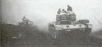 1st Armoured Division (Poland) - Polish Crusader AA MKII tank of the 1st Polish Armoured Regiment near Caen at the beginning of the Falaise operation.