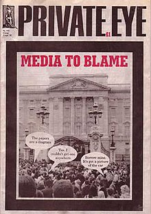 "Cover with headline ""Media to Blame"" shows large crowd gathered at the gates of Buckingham Palace with speech bubbles: ""The papers are a disgrace""; ""Yes, I couldn't get one anywhere""; ""Borrow mine, it's got a picture of the car."""