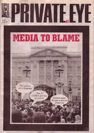 """Private Eye - The front cover of the infamous """"Diana issue"""", number 932, in September 1997"""
