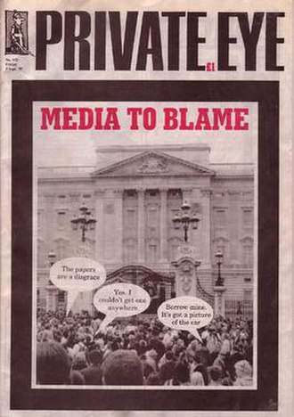 "Private Eye - The front cover of the infamous ""Diana issue"", number 932, in September 1997"