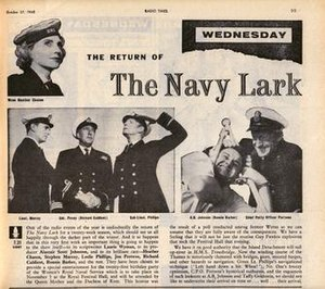 The Navy Lark - A Radio Times newspaper extract from 1960, showing the cast of the show and promoting the show's return.