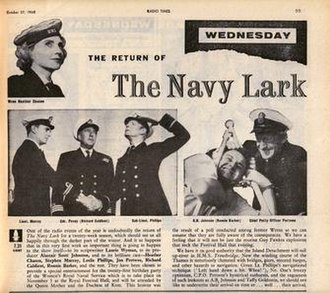 The Navy Lark - A Radio Times magazine extract from 1960, showing the cast of the show and promoting the show's return.