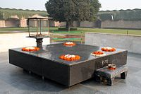 The Raj Ghat is the site where Mahatma Gandhi was cremated.