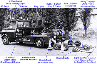 Vehicle recovery - An example of equipment used around 1980 (click to enlarge)