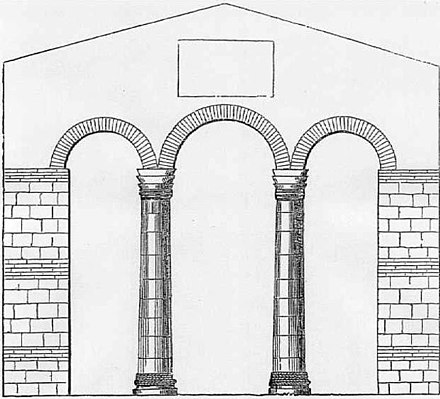 Triple arch opening separating the nave and apse in the 7th-century church at Reculver, Kent (now destroyed) Reculver.jpg
