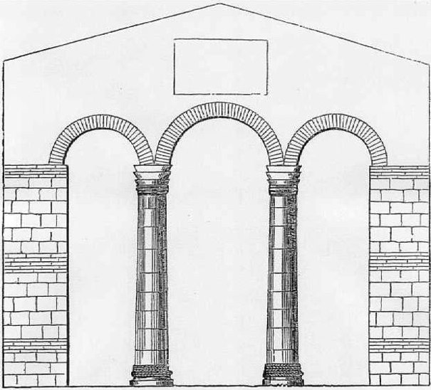Triple arch in the 7th-century church of Reculver