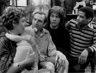 Rising Damp - Main cast of Rising Damp: (from left) Frances de la Tour, Leonard Rossiter, Richard Beckinsale and Don Warrington