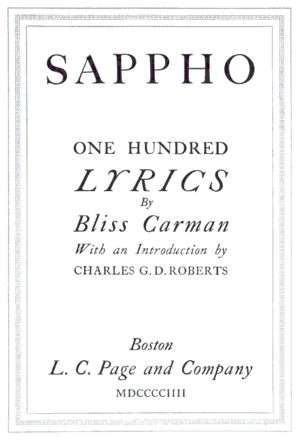 Bliss Carman - First edition of Sappho, 1904.