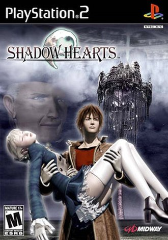 Shadow Hearts (video game) - North America box art, featuring protagonists Yuri and Alice, and main antagonist Albert Simons.