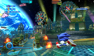 Sonic Colors - Gameplay screenshot of Sonic Colors, showing Sonic in one of the game's levels
