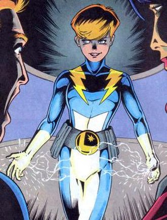 Ayla Ranzz - Spark's introduction as Live Wire's replacement, much to his shock. Art by Jeff Moy.